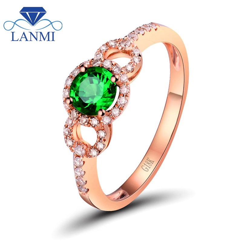 Solid 18K Rose Gold Natural Green Tsavorite Wedding Rings Shinning Diamond Genuine Gemstone Fine Jewelry for Christmas Gift solid 18k yellow gold green emerald wedding diamonds rings good quality genuine gemstone fine jewelry for women promised gift