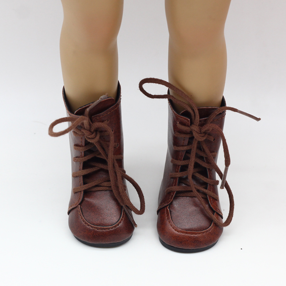 1 Pair Shoes For 18 Inch Doll Toy Mini Doll Shoes with Lace For 43cm Baby Doll Boots Dolls Sneackers Accessories Hot Sale 7 cm in Dolls Accessories from Toys Hobbies