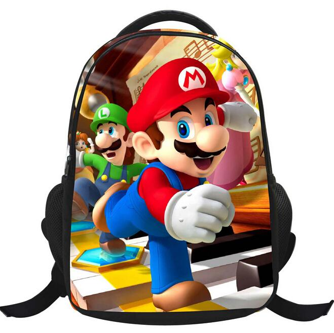 New High Quality Canvas Mario School Bags For Kids Cute Cartoon Children Schoolbags Backpack For Boys Girls Mochila Gift