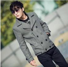 Черный серый 2017 высокое качество мужские куртки осень зима Двойной грудью куртки для мужчин сращивания шерстяное пальто мужские peacoat Пользовательские сделано