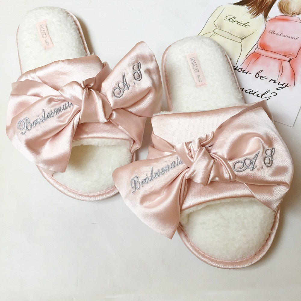 Free Shipping 1 pairs lot Personalized Bridesmaid gifts Dark Blue Pink Satin Custom name wedding slippers