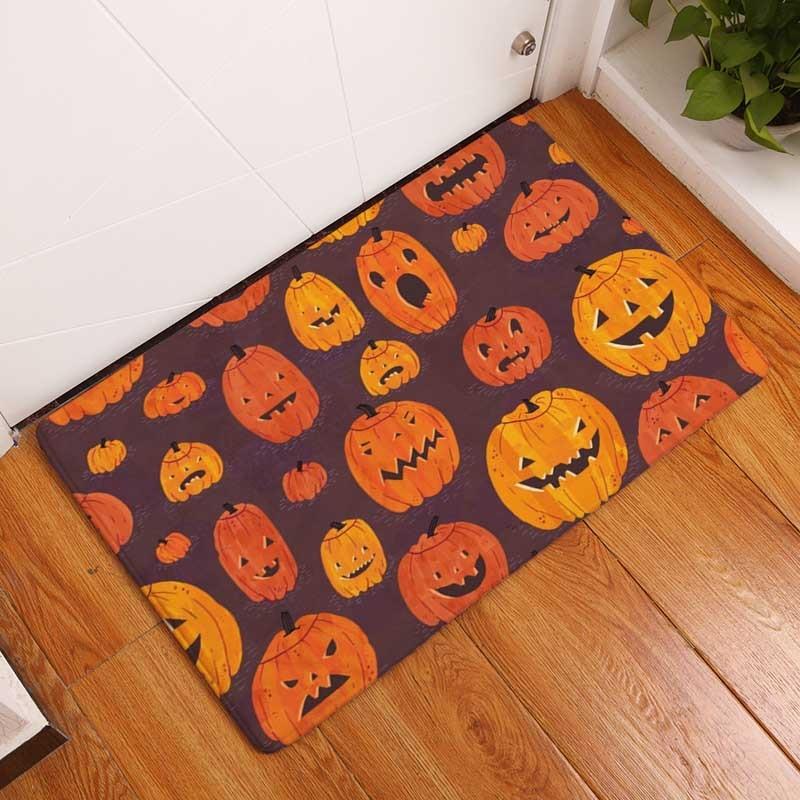 decorUhome Nordic Flannel Waterproof Door Mat Halloween Skull Cartoon Carpet Bedroom Rug Decorative Stair Mats Home Decor Crafts