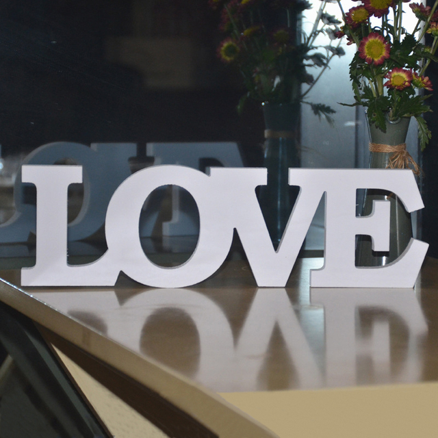 1pcs White Wooden Number 0 9 Bridal Wedding Birthday Party: 1pcs White Letter LOVE Wedding Decoration PVC Material
