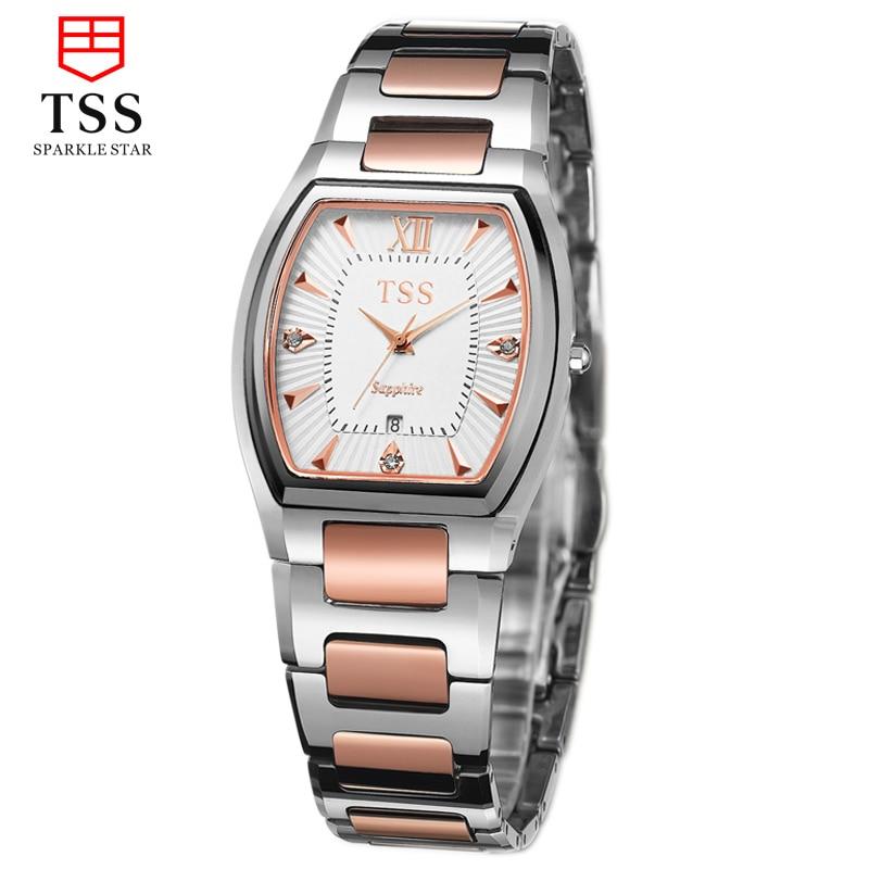 TSS automatic quartz watch casual <font><b>men's</b></font> watch tungsten steel square watch simple fashion slim male <font><b>confession</b></font> face Rose gold