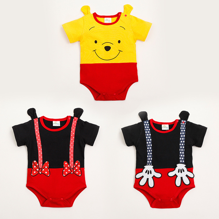 Baby Cotton   Rompers   Short Sleeve Cartoon Ropa Bebe overalls 3 Colors Infant Baby Jumpsuits Yellow Lovely Bear toddler Clothes