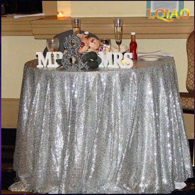 Silver Sequin Tablecloth 120 Inch Round Table Cloth 15 Colors Round Table  Dining Decoration Cover Linen