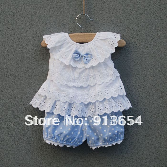Новинка года, комплекты одежды для маленьких девочек детский летний костюм бант для новорожденного, жилет+ шорты для детей милый костюм в горошек для маленьких девочек