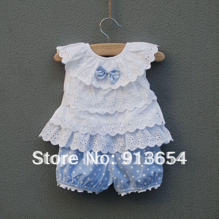 wholesale Sale new 2014 baby & kids clothes sets childrens summer suit newborn bow vest + shorts baby girls lovely Dot suit