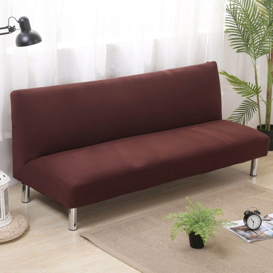 Brown Solid Color Sofa Bed Covers For Living Room Universal Armless Couch Slipcovers