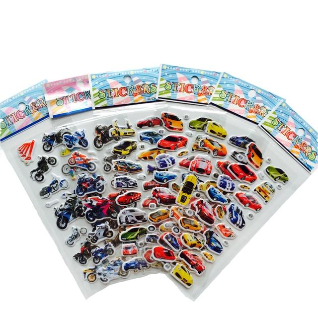 Autocollants à bulles 3D, autocollants dessin animé voiture moto Scrapbook, jouets classiques, cadeau pour enfants, 6 pièces/lot
