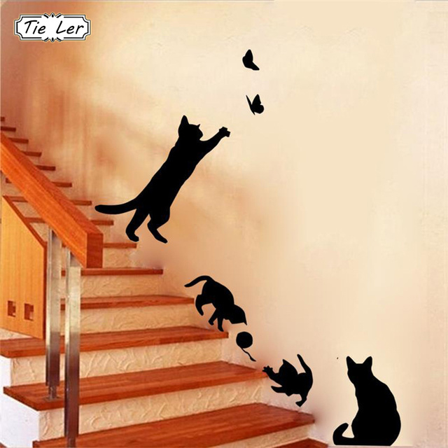 1 Set/Pack New Arrived Cat play Butterflies Wall Sticker Removable Decoration Decals for Bedroom Kitchen Living Room Walls