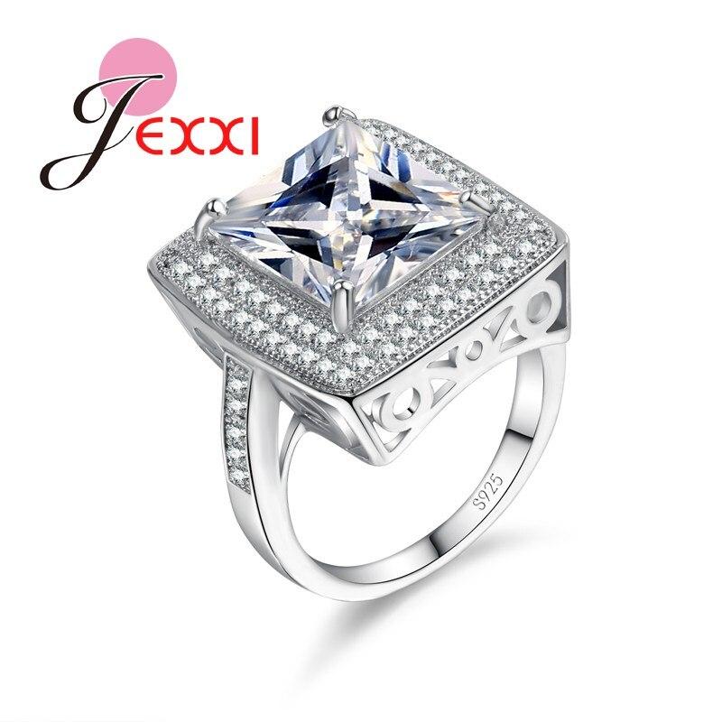 b6faf0a2537f JEXXI 925 plata esterlina anillo de bodas para las mujeres Bijoux señora  moda cuadrado corte CZ accesorios de joyería