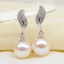 925 silver real natural big The only Olympic 925 sterling silver inlaid CZ round light Freshwater Pearl Earring nail genuine fem