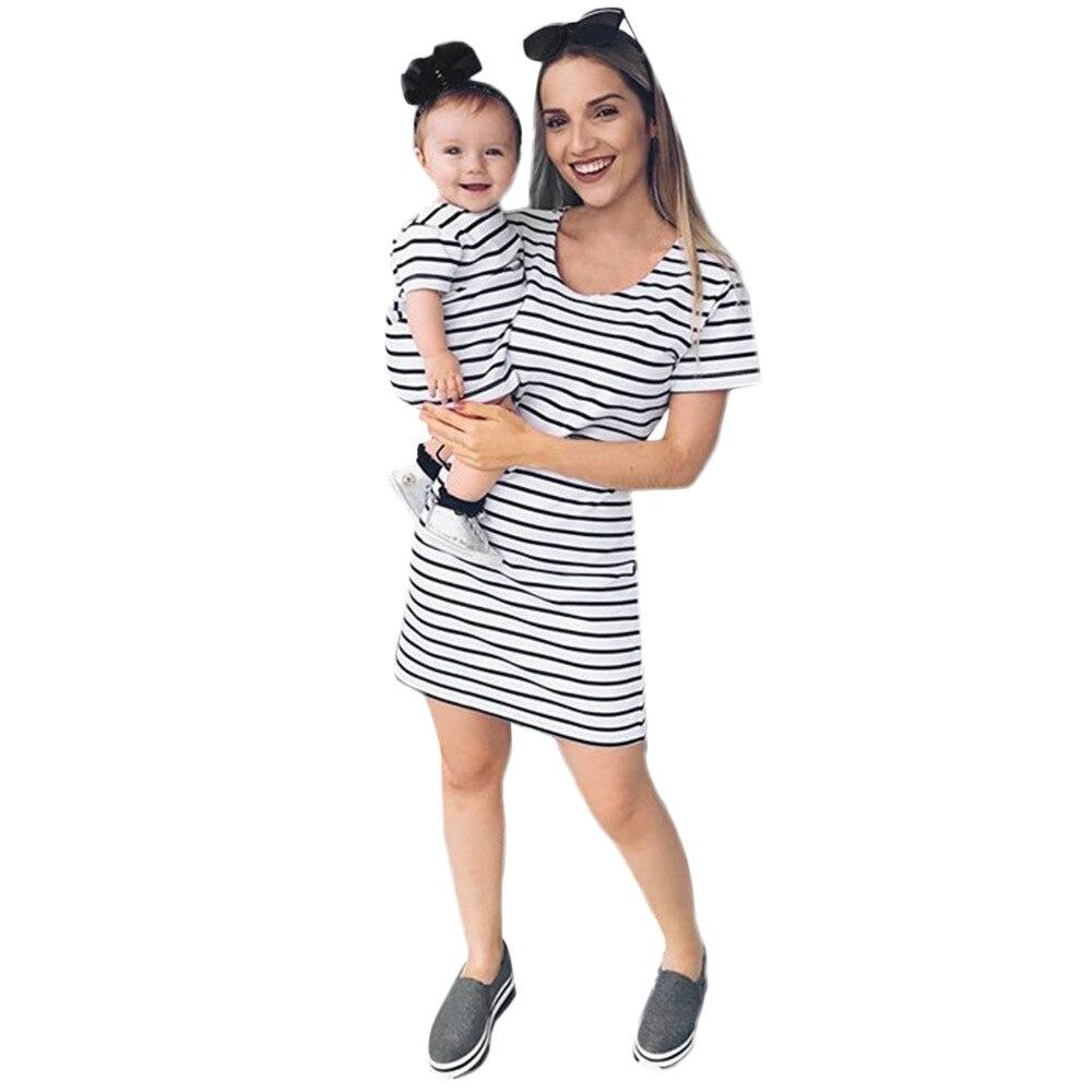 Summer Dress Lady Women Mother Dress Striped Family Dress Beach Sundress Clothes Women Clothes 2018 Zomerjurken 2018 Dames