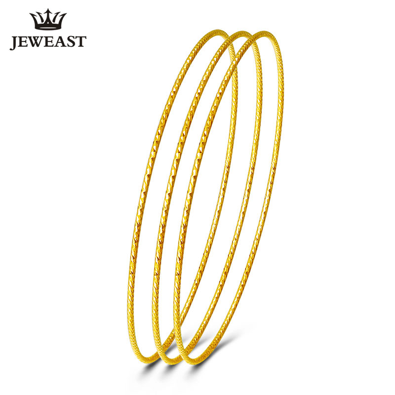 18k Pure Gold Bangles 2017 Nye Rose Yellow Women Armbånd Tilpass 750 Hot Sale Elegant Temperament Party Classic Round GOOD