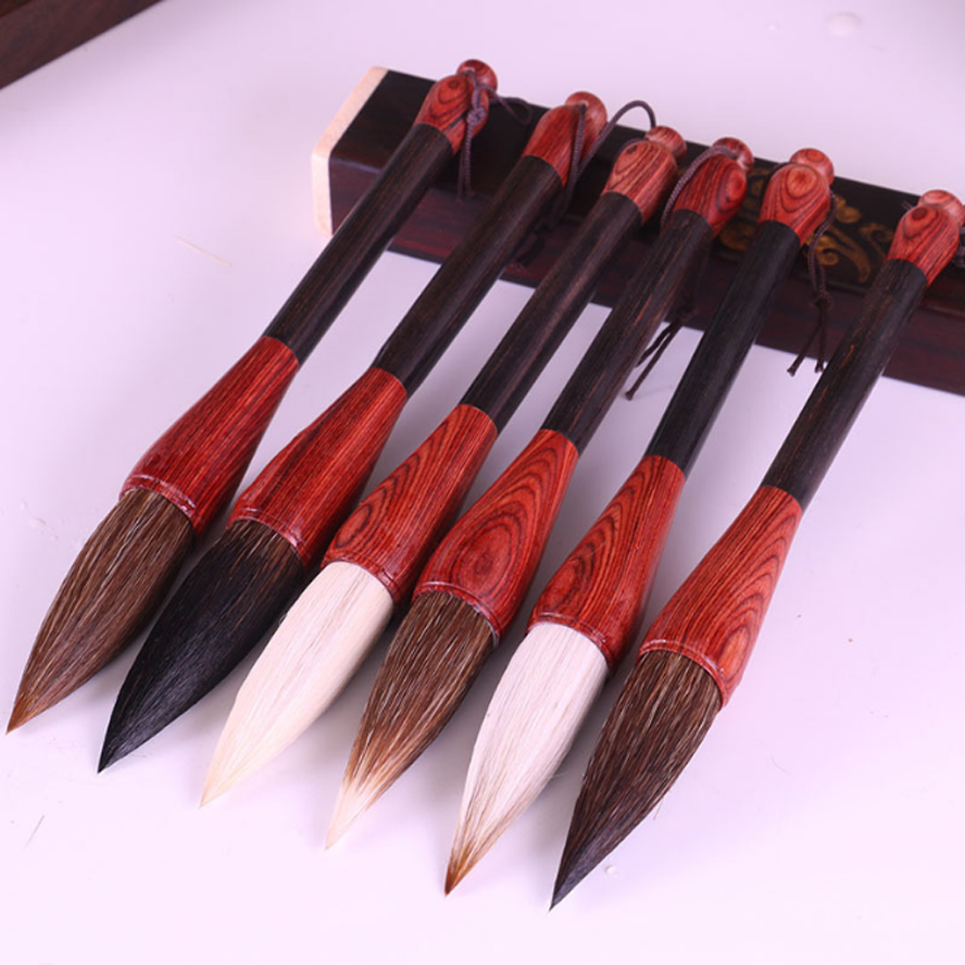 6pcs TOP Chinese Calligraphy Brushes wool bear mixed weasel hair brush for painting calligraphy Artist supplies