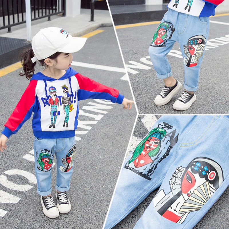 Autumn Toddlers Infant Kids Denim Pants Baby Cartoon Print Long Pants Trousers Bottoms(China)