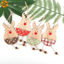 2PCS/Lot DIY Cute Deer Wooden Christmas Ornaments Pendants Wood Crafts  Xmas Tree Ornament Kids Gift Party Decoration