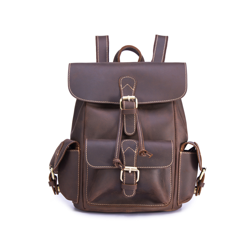 купить Vintage Backpack Crazy Horse Leather Backpack Handmade Cow Leather Large Capacity Travel Bag mens backpack по цене 4028.85 рублей