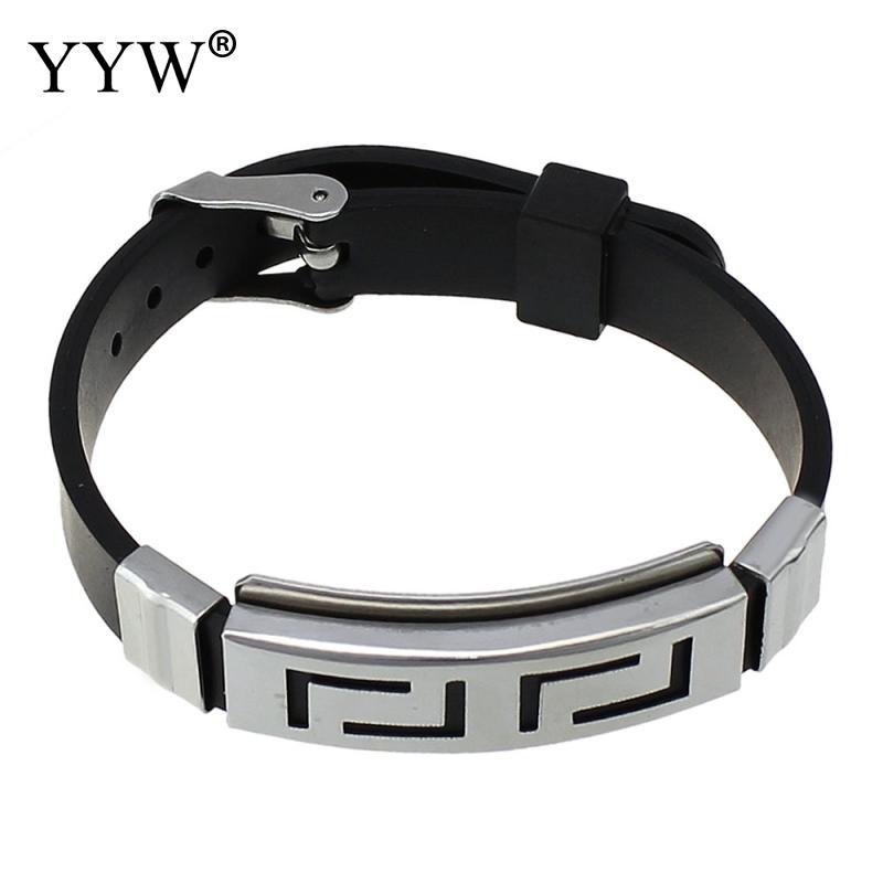 2020 Charm Silicone Rubber Silver Color Slippy Hollow Strip Grain Stainless Steel Men Bracelet Bangle Wristbands Black pulsera
