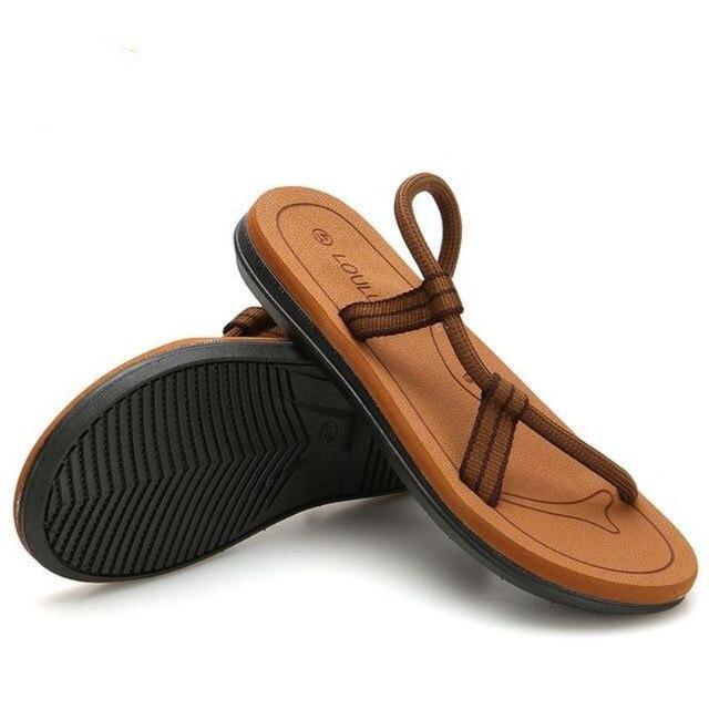 e6ff990604ff2 US $12.1 49% OFF|New Sandals Men Sandalias Hombre Gladiator Sandals for  Male Summer Roman Beach Shoes Flip Flops Slip on Flats Slippers Slides-in  ...