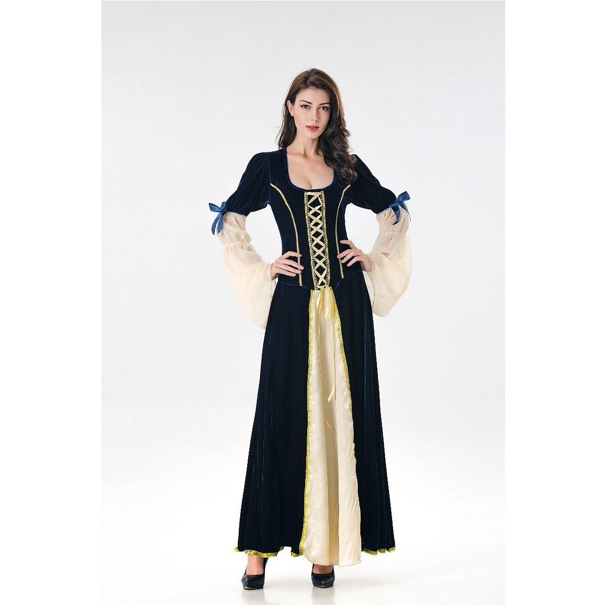 Medievale Nero Costumi Vestito Masquerade Cosplay Donne Blu Fantasia Maxi  Vittoriana Del Vintage xBnwY 107c8255754