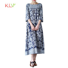 Dress Women 2017 Womens Oversized Floral Print Crewneck Casual Loose Long Maxi Dress Kaftan  17SEP20