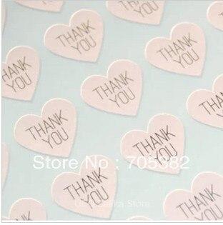 100 unids/lote gracias corazón diseño etiquetas Seals.3.8cm regalo pegatinas boda sellos (SS-7132)