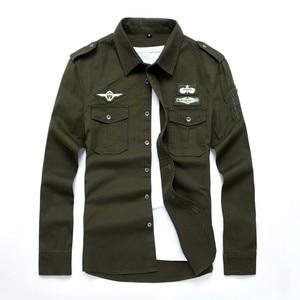 Image 5 - top quality fashion men long sleeve cotton shirts military fitness cargo outwear dress shirts M 6XL AYG75