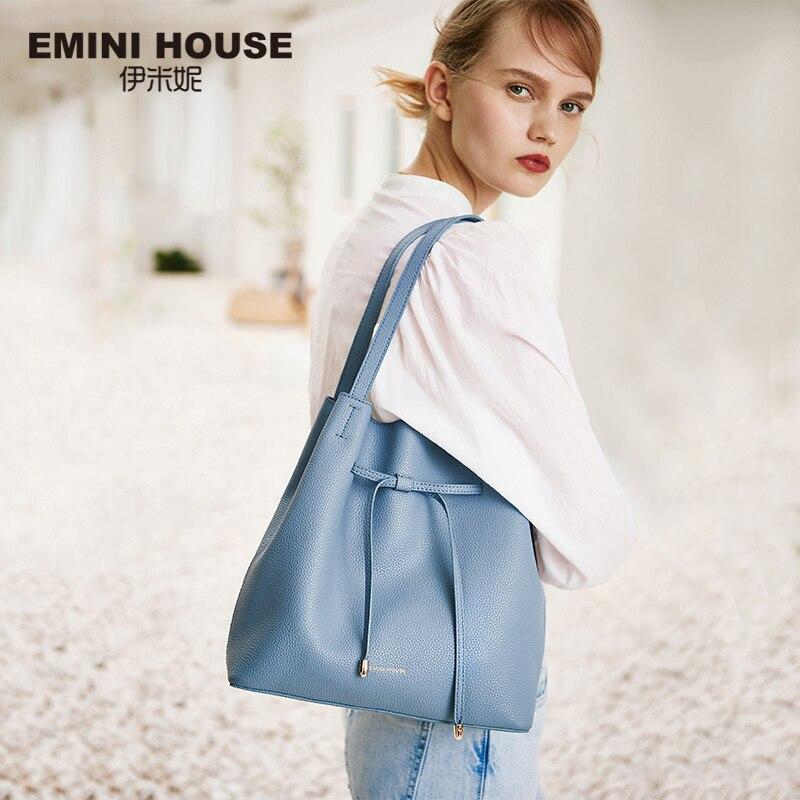 EMINI HOUSE Soft Split Leather Drawstring Tote Bag Luxury Handbags Women Bags Designer Crossbody Bags For