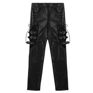Image 5 - TiaoBug pantalon Faux cuir femme, noir, épissure de résille, Sexy, Slim, extensible, Punk, gothique, Rave, soirée en boîte de nuit