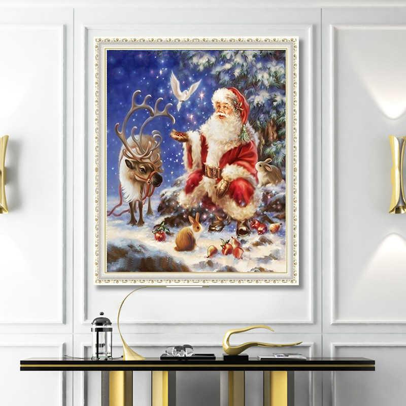 5d глянцевые краски ing Декор для гостиной Санта-Клаус и белые Голубки, лося Вышивка крестом мозаика глянцевые краски Рождественский подарок