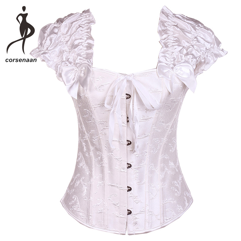 Black/White Women Body Shapewear Steel Boned Support Ruched Sleeves Daily Wear Outfit Floral Embroidred   Corset     Bustier   833#