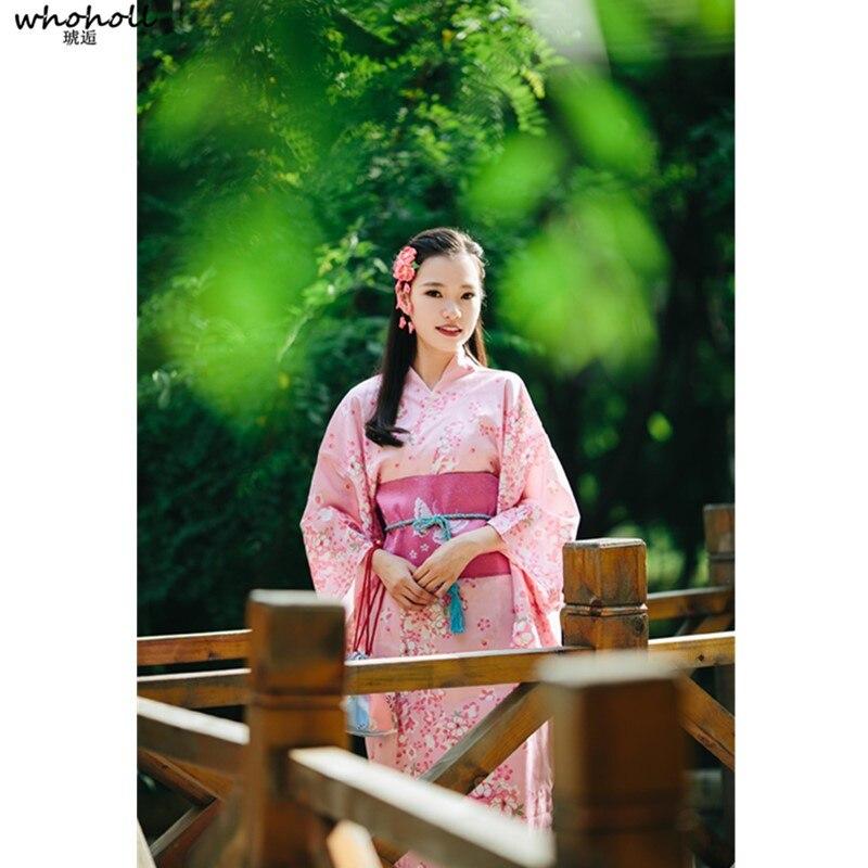 Kimono Yakata femme rose japonais avec Obi robe de soirée traditionnelle en Satin de soie Costume de cosplay Halloween