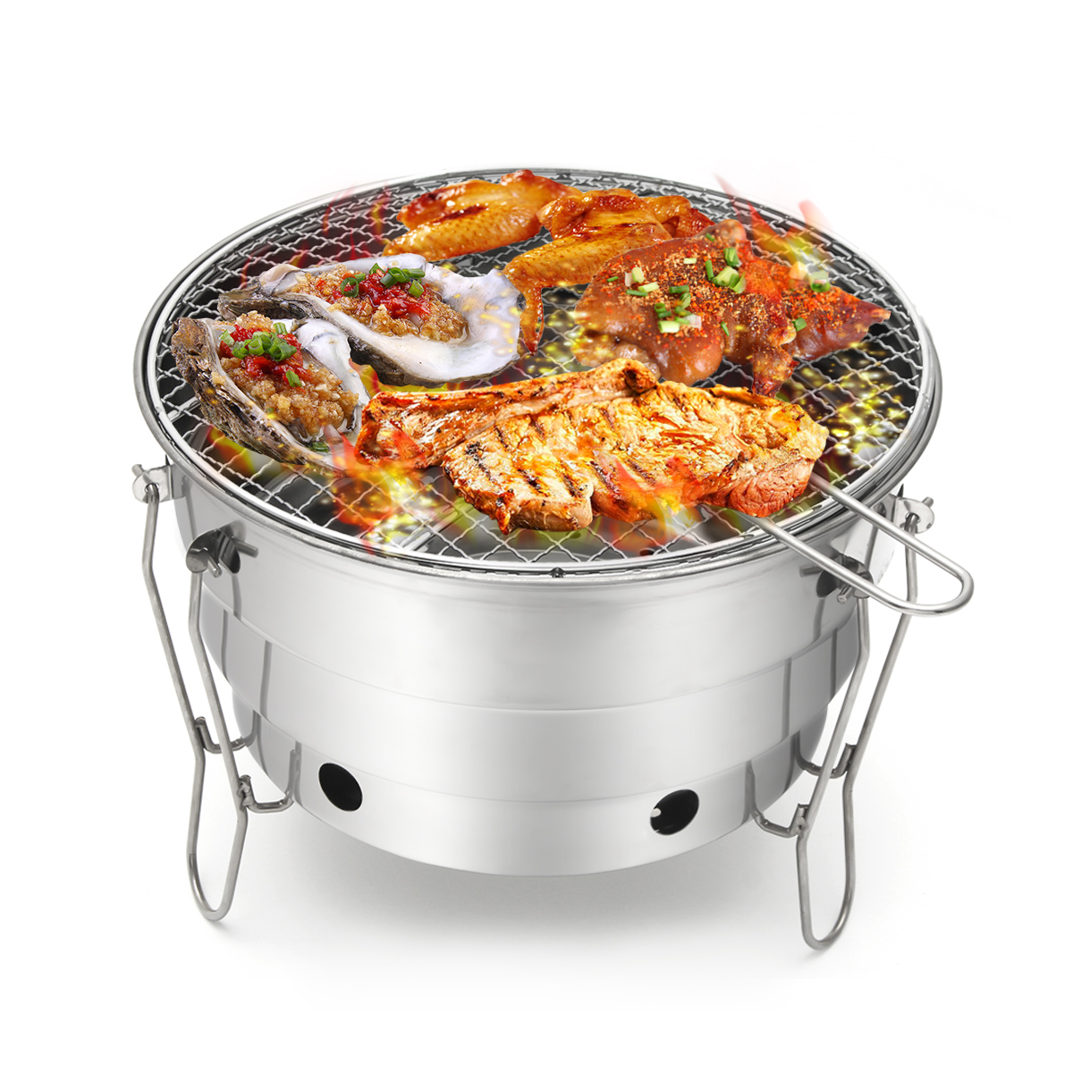 Foldable Portable Barbecue Charcoal BBQ Grill Stainless Steel Cooking Outdoor Camping Burner Patio Stove Family Party