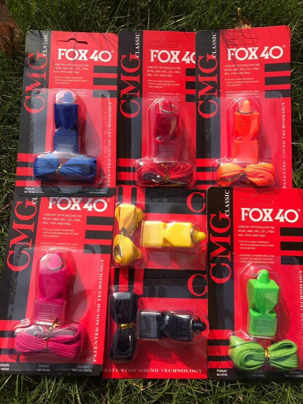 Free Shipping Sample Sale-1PC Colorful Fox 40 Whistle And Lanyard In Red Blister Packing