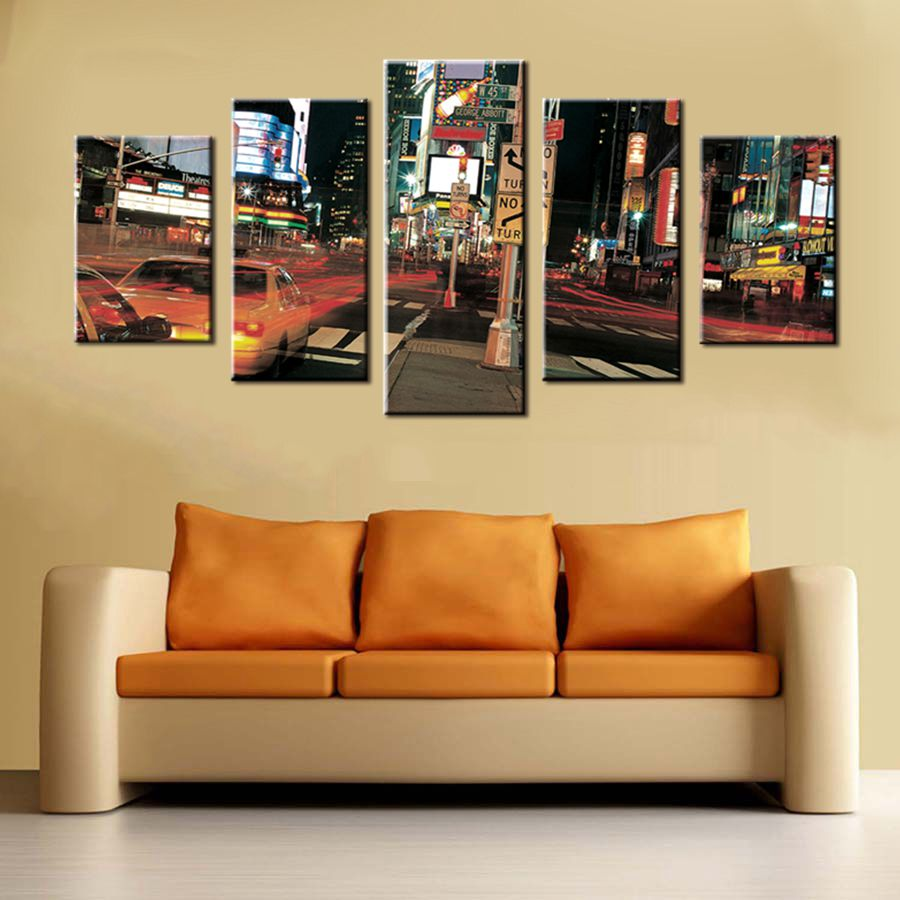 Oil Painting Cityscape Wall Art Home Decor Night View of New York ...