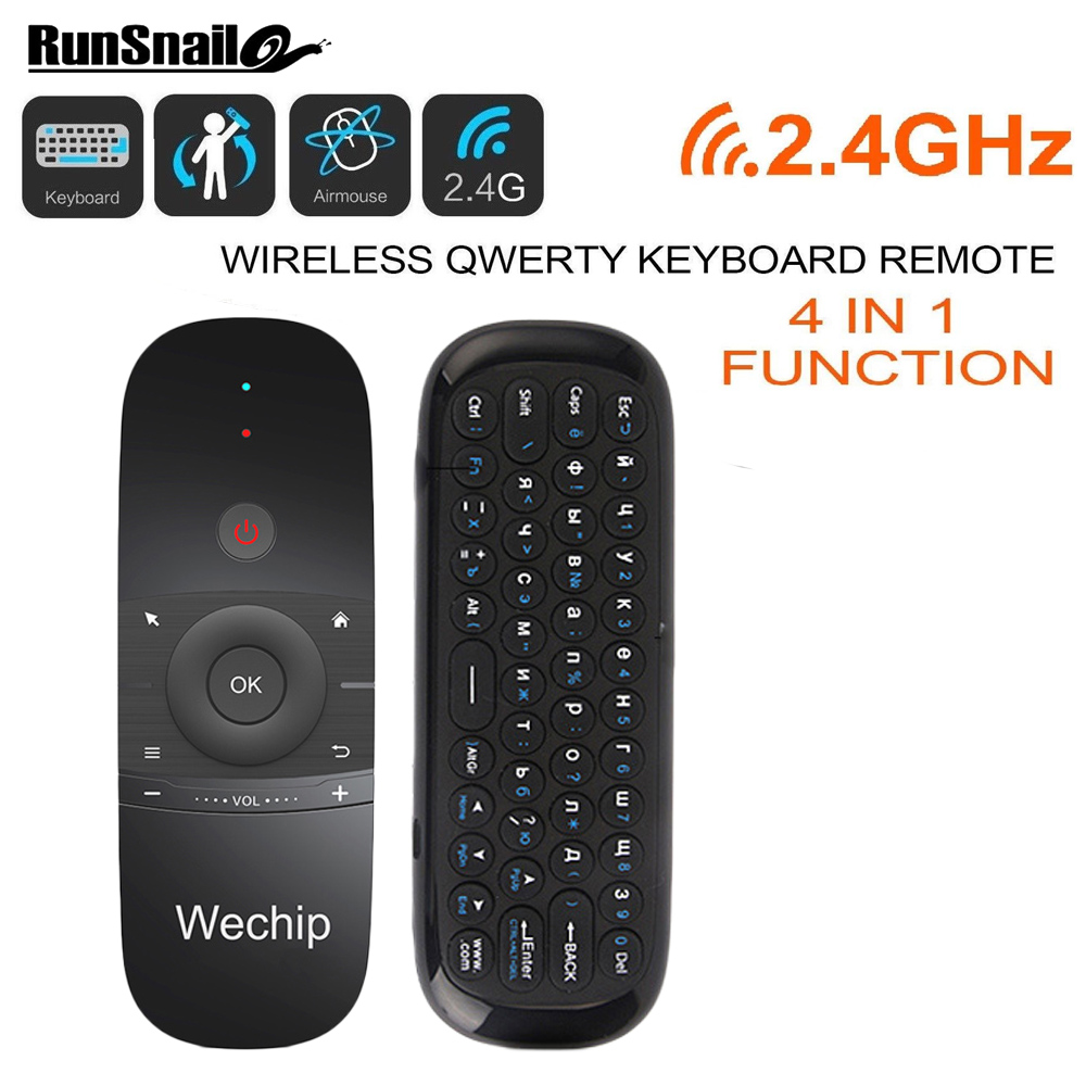 6550c114279 WeChip W1 Russian/English MINI Fly Air Mouse Wireless Gyro Keyboard 2.4G  Mention Sensing