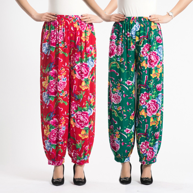 264669a4a Spring and summer middle and old aged new women's national wind square  dance pants high waist