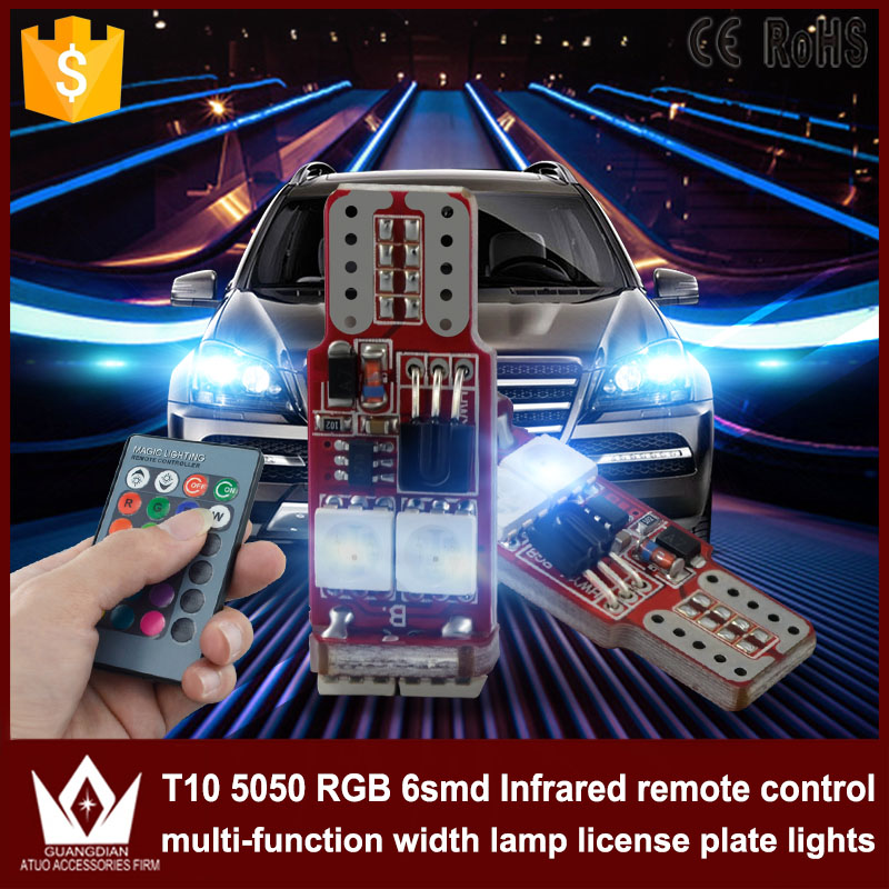 Tcart 2PCS Universal Auto Led Interior Bulb 194 W5W T10 5050 6SMD RGB LED Lamp DC12V For Clearance Lights With Remote Controller carprie super drop ship new 2 x canbus error free white t10 5 smd 5050 w5w 194 16 interior led bulbs mar713