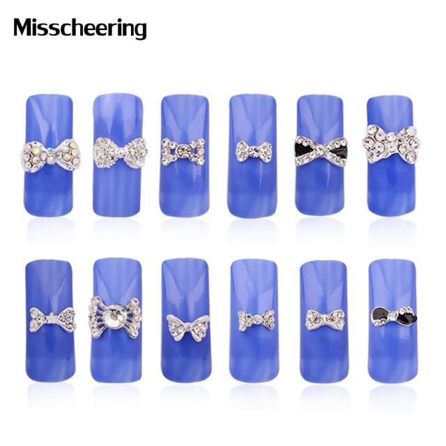 10 Stkspak 3d Clear Crystal Ab Rhinestone Bow Tie Nail Art Slices