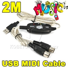New Converter PC to Music Keyboard Cord USB IN-OUT MIDI Interface Cable For  XP Vista MAC