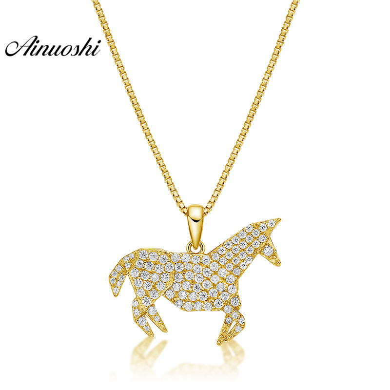 все цены на AINUOSHI 10K Solid Yellow Gold Pendant Little Horse Pendant SONA Diamond Women Men Children Jewelry Cute Horse Separate Pendant онлайн