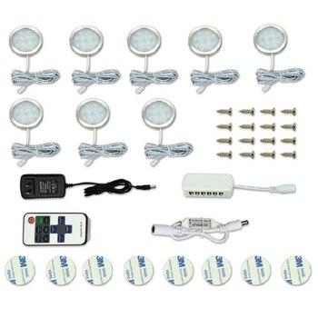8 ชิ้น LED ภายใต้ตู้ Light 12 LEDs รีโมทคอนโทรล Dimmable ไฟห้องครัวตู้เสื้อผ้าโคมไฟกลางคืนโคมไฟตกแต่งบ้าน