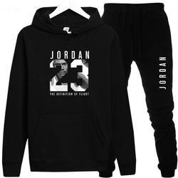 Новый 2018 бренд спортивный костюм Мода JORDAN 23 для мужчин спортивная из двух частей наборы для ухода за кожей все хлопок флис толст