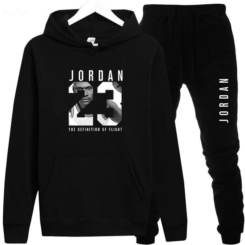 Neue 2018 Marke Trainingsanzug Mode JORDAN 23 Männer Sportswear Zwei Stück Sets Alle Baumwolle Fleece Dicken hoodie + Hosen Sporting anzug Männlichen
