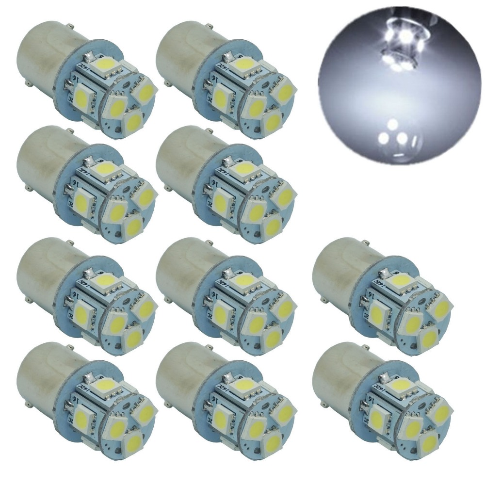 CYAN SOIL BAY 10pcs 1156 S25 p21W Ba15s White 8 5050 SMD LED Turn Signal Rear Light Bulb Lamp 12V 24V