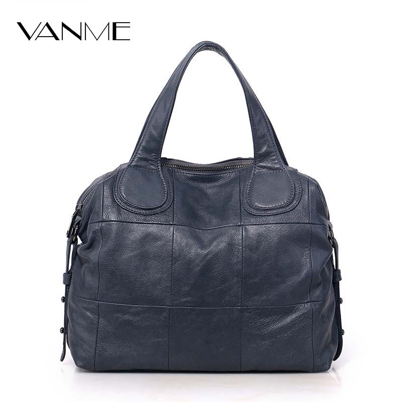 ФОТО Casual Large Genuine Leather Bag Women Big Shoulder Bags Black Zipper Ladies Bag Bolsas Femininas High Quality Top-Handle Bags