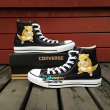 Black Converse All Star Women Men Shoes Pokemon Go Sandshrew Design Hand Painted Shoes Custom Canvas Sneakers Gifts