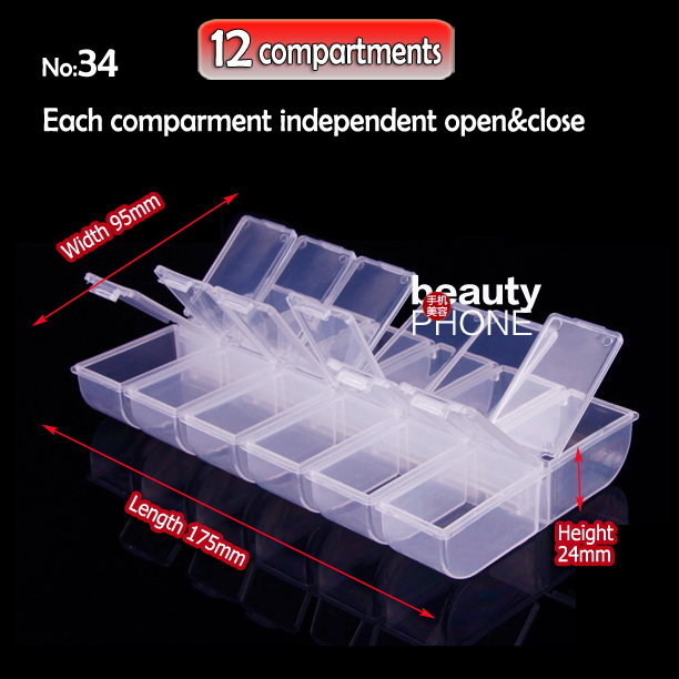 Organizer Box Storage 12 Compartments For DIY Home Work Nail Art Jewelry Beads Crafts Portable Container Case